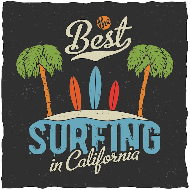 Beste surfen in californië poster met palmen en strandillustratie Gratis Vector