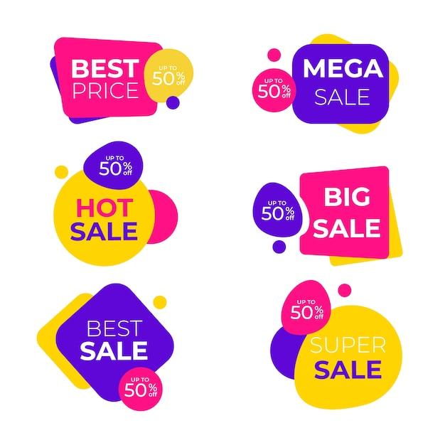 Beste verkoopbanner die met grappige vormen wordt geplaatst Gratis Vector