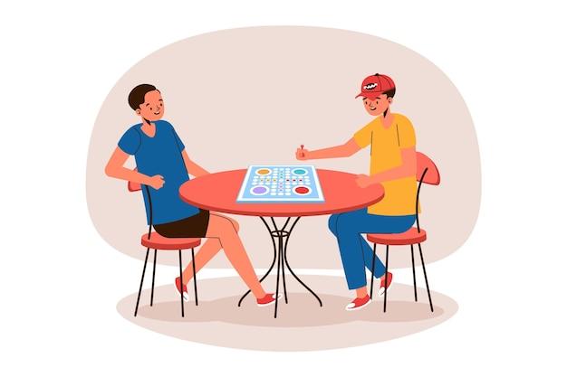 Beste vrienden die ludo-spel spelen Gratis Vector