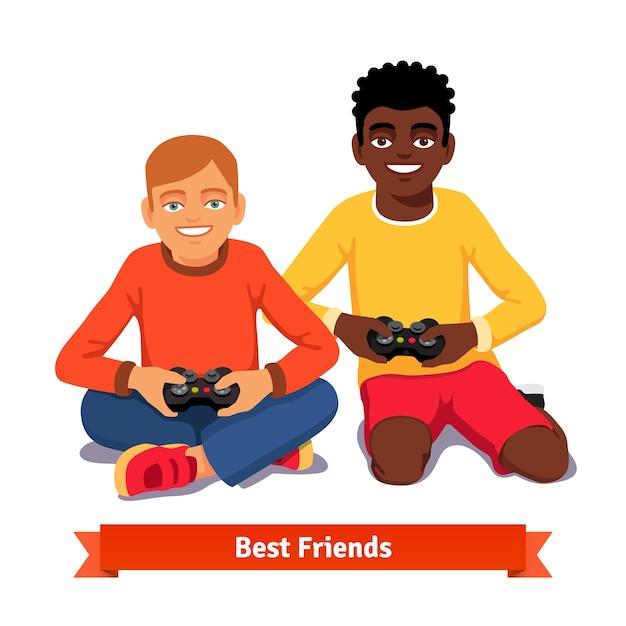 Beste vrienden video gaming samen op de vloer Gratis Vector