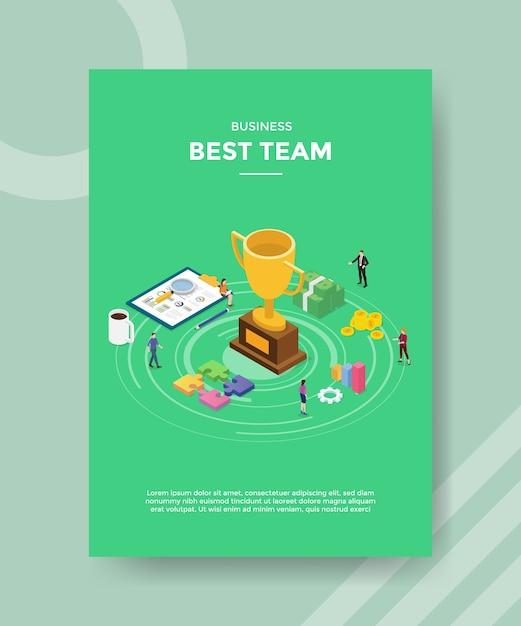 Beste winnaar team flyer-sjabloon Gratis Vector