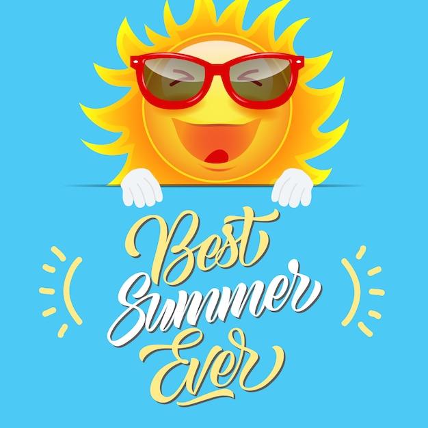 4af0c19b625aa2 Beste zomer ooit wenskaart met vrolijke cartoon zon in zonnebril Gratis  Vector