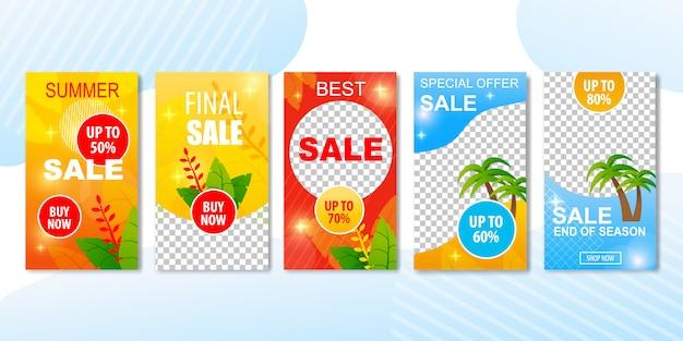 Beste zomerkopenaanbiedingen in banneradvertentieset. Premium Vector