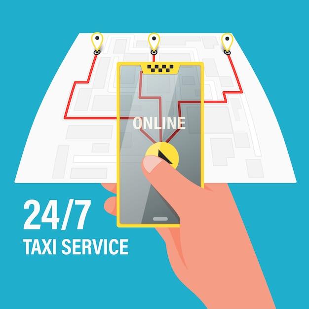 Bestel een taxi per telefoon en via de mobiele applicatie. kaart met gps-navigatie. Premium Vector