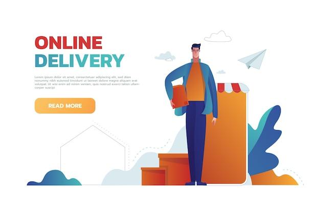 Bestel eten, boodschappen online vanuit de app via de smartphone. Gratis Vector