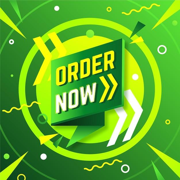 Bestel nu banner in groene en gele tinten Premium Vector