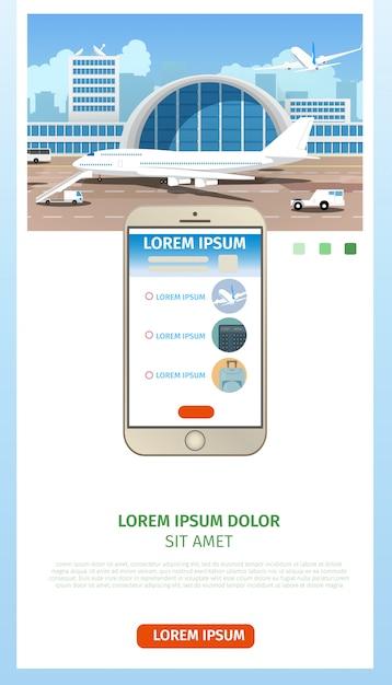 Bestellen vliegtickets cartoon vector webpagina Gratis Vector