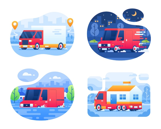 Bestelwagen en bestelwagen collectie met stad achtergrond Premium Vector