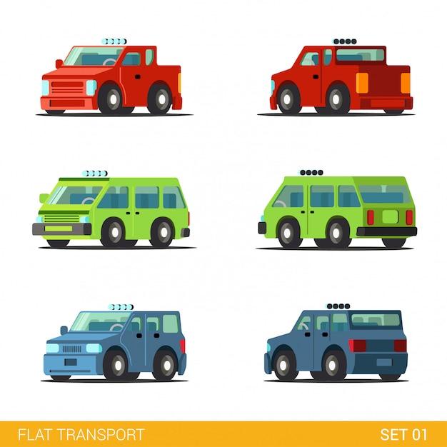 Bestelwagen pick-up sedan hatchback offroad suv gezinsauto grappige transport platte set Gratis Vector