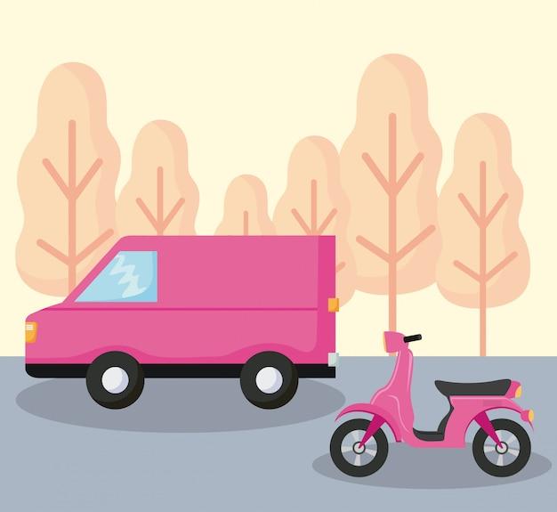 Bestelwagen van auto met motorfiets Premium Vector