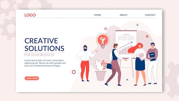Bestemmingspagina biedt creatieve oplossing voor bedrijven Premium Vector