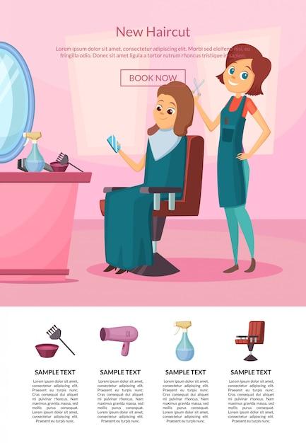 Bestemmingspagina met kapper die een knipbeurt doet naar een klant in salon met tafel en spiegel Premium Vector