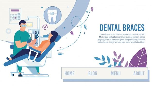 Bestemmingspagina met tandheelkundige zorg Premium Vector