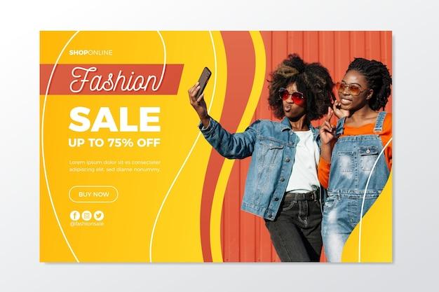Bestemmingspagina met thema mode-verkoop Gratis Vector