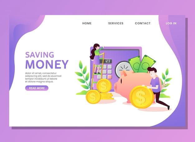 Bestemmingspagina of websjabloon. geld besparen concept met man en vrouw Premium Vector