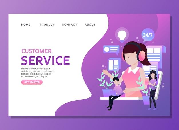 Bestemmingspagina of websjabloon. klantenservice met vrouw als assistent Premium Vector