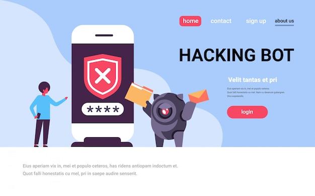 Bestemmingspagina of websjabloon met illustratie, hacking bot-thema Premium Vector