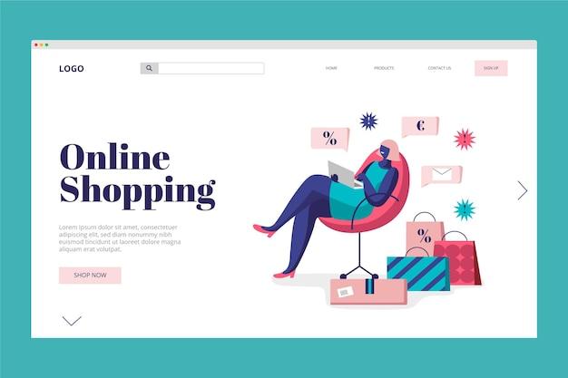 Bestemmingspagina online winkelen concept Gratis Vector