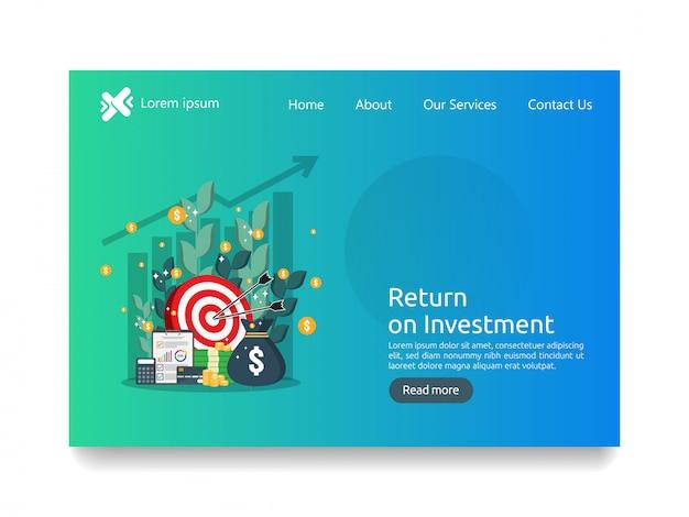 Bestemmingspagina sjabloon voor investeringen bedrijfsconcept Premium Vector