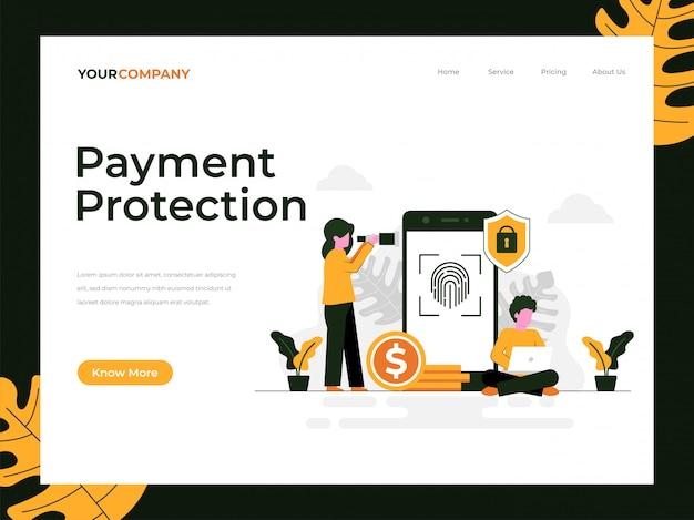 Bestemmingspagina van betalingsbescherming Premium Vector