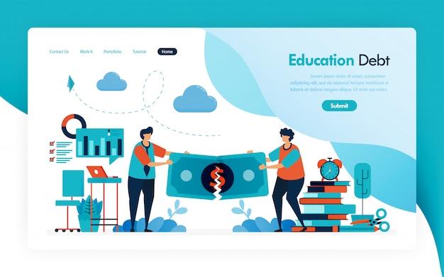 Bestemmingspagina voor collegegeld, onderwijsschuld, beurslening, gescheurd geld, budget voor leren en universiteit, financiële donatie en liefdadigheid voor onderwijs. Premium Vector