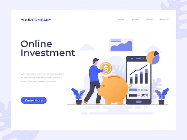 Bestemmingspagina voor online investeringen Premium Vector