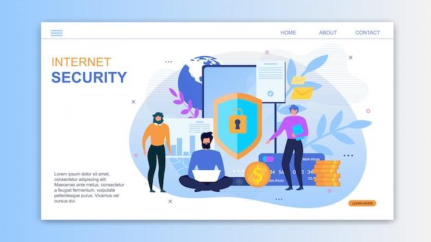 Bestemmingspagina voor service biedt internetbeveiliging Premium Vector