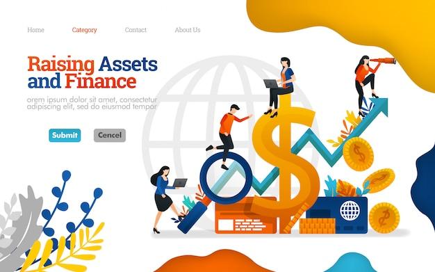 Bestemmingspaginasjabloon. activa en financiën aantrekken. groei van de winst in zakelijke vectorillustratie Premium Vector
