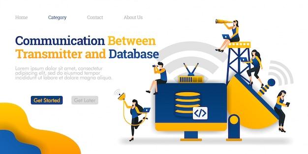 Bestemmingspaginasjabloon. communicatie tussen zender en opslagapparaat. database verwerkt gegevens in apparaat Premium Vector