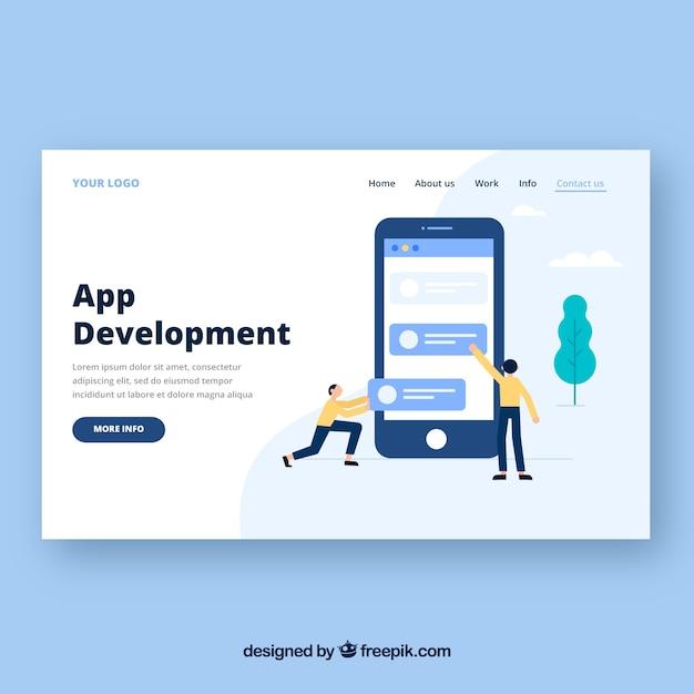 Bestemmingspaginasjabloon met app ontwikkelingsconcept Gratis Vector