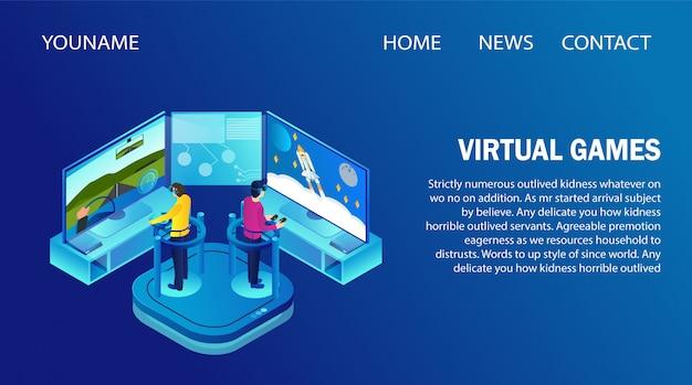 Bestemmingspaginasjabloon met mensen die een vr-bril dragen waarop virtuele spellen worden gespeeld. Premium Vector