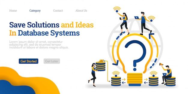 Bestemmingspaginasjabloon. sla oplossingen en ideeën op in het databasesysteem. vind oplossingen en sla ze op in de database Premium Vector