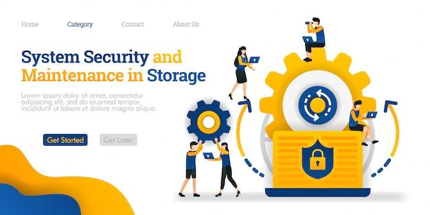 Bestemmingspaginasjabloon. systeembeveiliging en onderhoud in opslag. systeembeveiliging bij het onderhouden van gegevens Premium Vector
