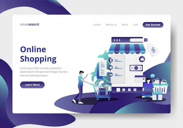 Bestemmingspaginasjabloon van online shopping concept Premium Vector