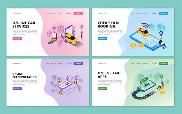 Bestemmingspaginasjabloon van online taxi, autodeeldienst, online stadsvervoer voor website en mobiele website-ontwikkeling Premium Vector