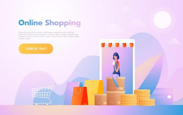 Bestemmingspaginasjabloon van online winkelen. modern plat ontwerpconcept van webpagina ontwerp voor website en mobiele website. vector illustratie Premium Vector