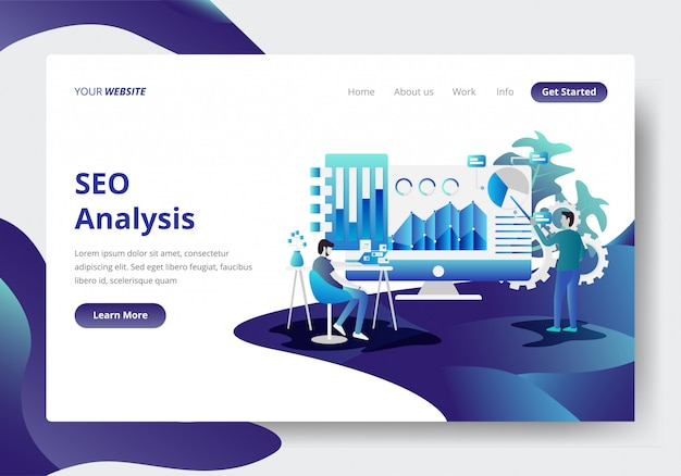 Bestemmingspaginasjabloon van seo-analyseconcept Premium Vector