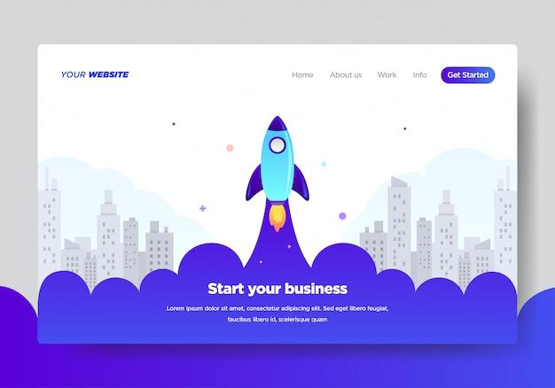 Bestemmingspaginasjabloon van startup business Premium Vector