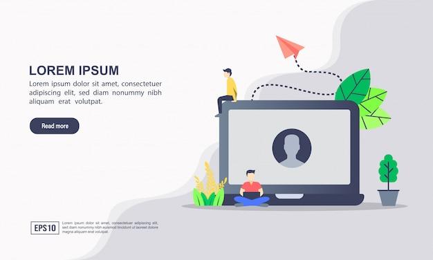 Bestemmingspaginasjabloon. vector illustratie van account & profiel-account of software oplossing concept met