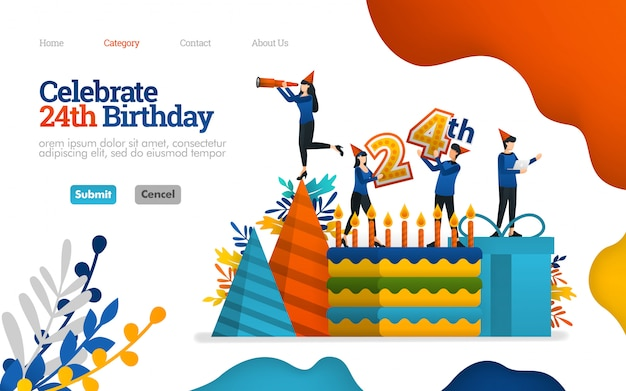 Bestemmingspaginasjabloon. vier verjaardagen, vieringsdagen, 24-jarig jubileum. vector illustratie Premium Vector