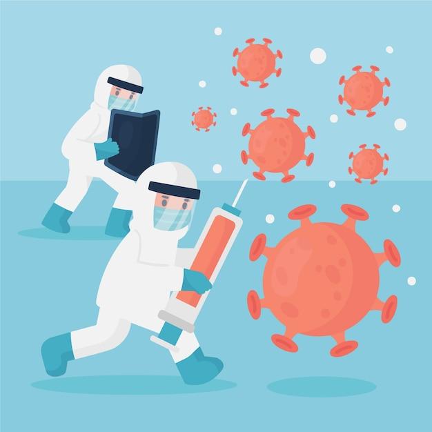 Bestrijd de virusillustratie met vaccin Gratis Vector