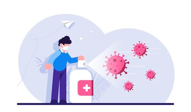 Bestrijding van desinfectie coronavirus of verspreiding van infectieziekten man met masker die desinfecterende spray of ontsmettingsmiddel gebruikt tegen covid-virusinfectie Premium Vector