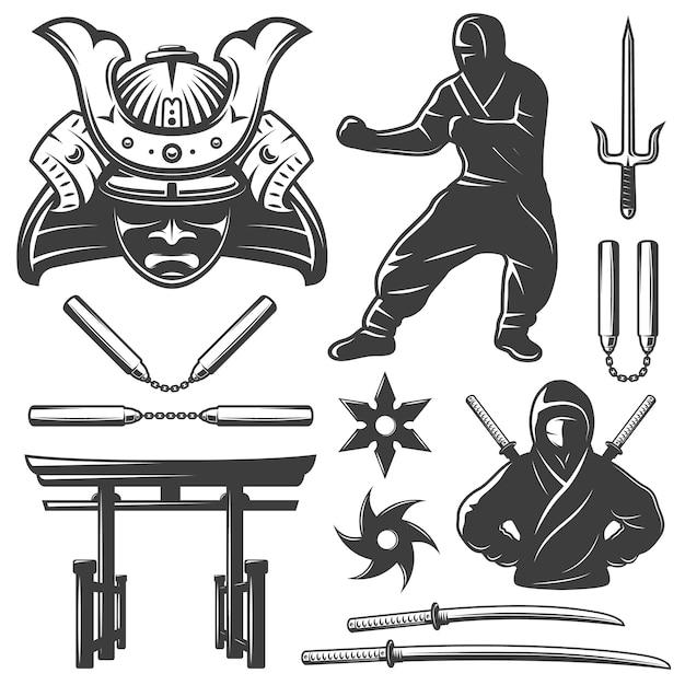 Bestrijding van samoerai-elementen instellen Gratis Vector