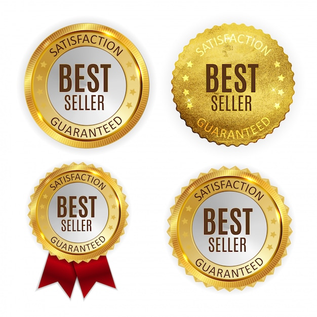 Bestseller golden shiny label sign collection set. Premium Vector