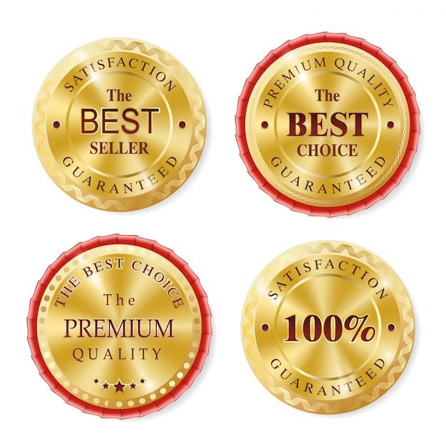 Bestseller gouden badges collectie Premium Vector