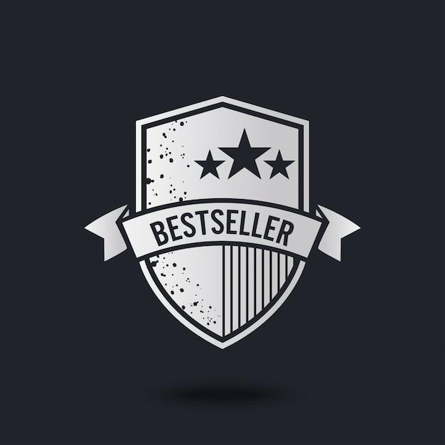 Bestseller-label op zwart Premium Vector