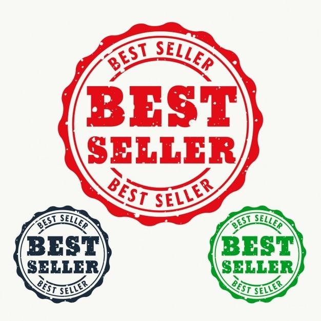 Bestseller rubber stempel teken Gratis Vector