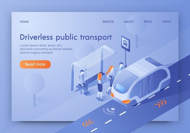 Bestuurderloze openbaarvervoerbanner, onbemande bus Premium Vector
