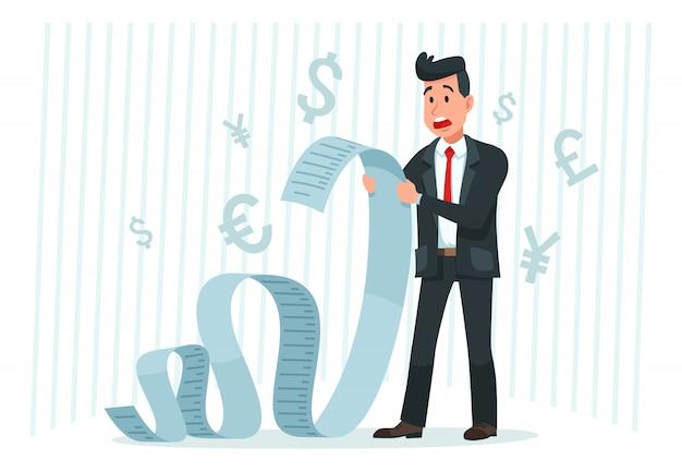 Betaal een hoge rekening. zakenman die lange rekening houdt, die door betalingsbedrag wordt geschokt en het beeldverhaalvector van financiënrekeningen betaalt Premium Vector