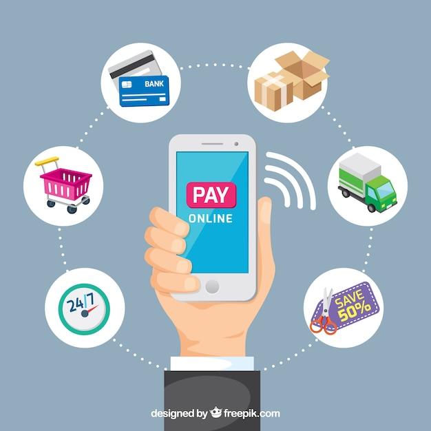 Betaal online, mobiele telefoon Gratis Vector